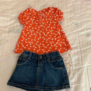 Ruffled blue Jean skirt with butterfly shirt